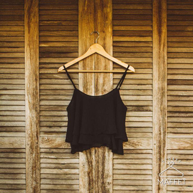 Cropped soltinho - Preto - Closet Maffei