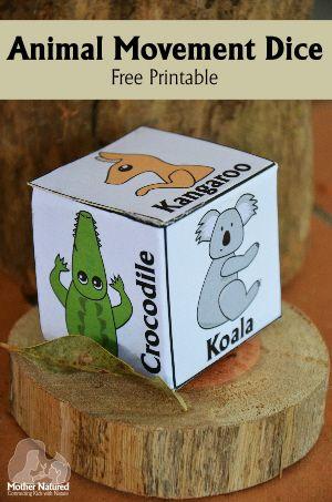 Animal Movement Dice - Free Printable. http://mothernatured.com/2011/08/19/wildlife-movement-dic/
