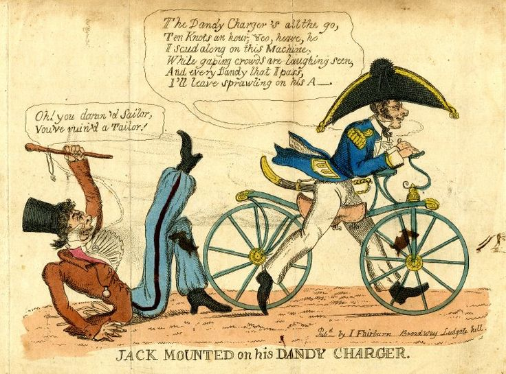 """""""Jack Mounted on his Dandy Charger""""  Inscription: """" """"Pubd by I Fairburn Broadway Ludgate hill."""" 1819, Hand-coloured etching, satirical print, British Museum #1876.1111.639"""