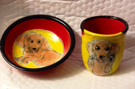Dachshund or any dog breed handmade Ooak ceramic bowl  hand painted red yellow stoneware pottery by Debi Lampert-Rudman  Potterypup Studios www.potterypup.com