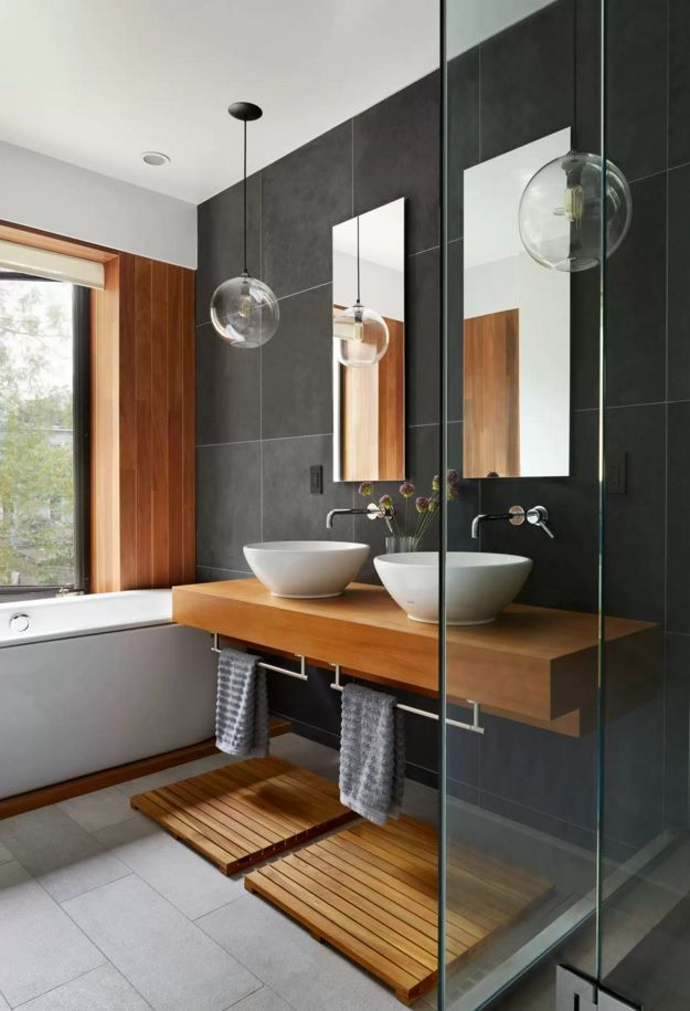 Choosing New Bathroom Design Ideas 2016. Natural materials for the trimming