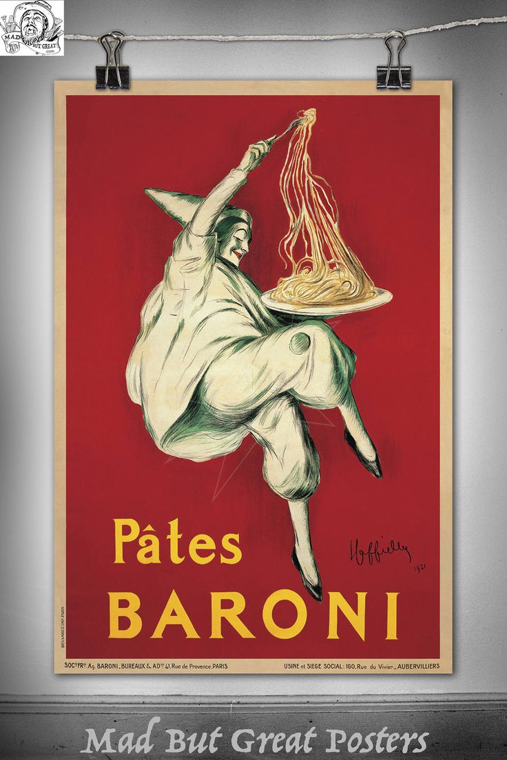 Pates Baroni - Leonetto Cappiello - 1921, italian, print, kitchen wall art, food & drink, vintage, gift, travel, diner sign, antique, deco by MadButGreatPosters on Etsy