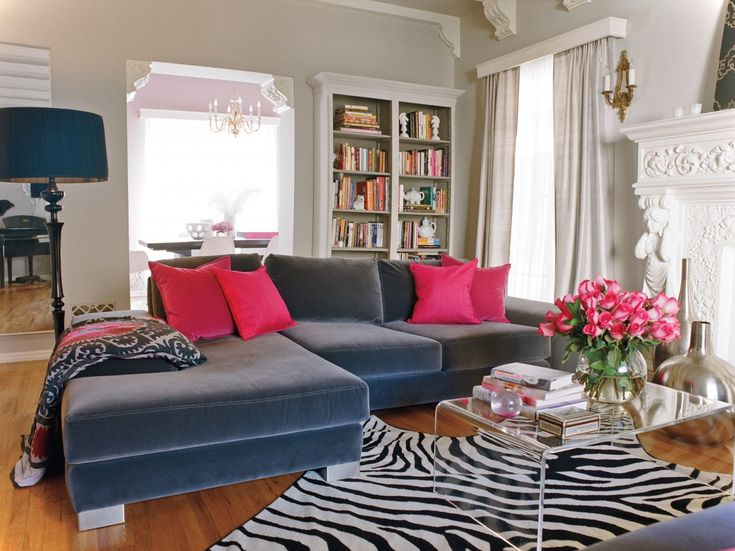 2014 Luxury Living Room Design With Navy Blue Coach and Zebra Rug also Clear Acrylic Table - Living Room