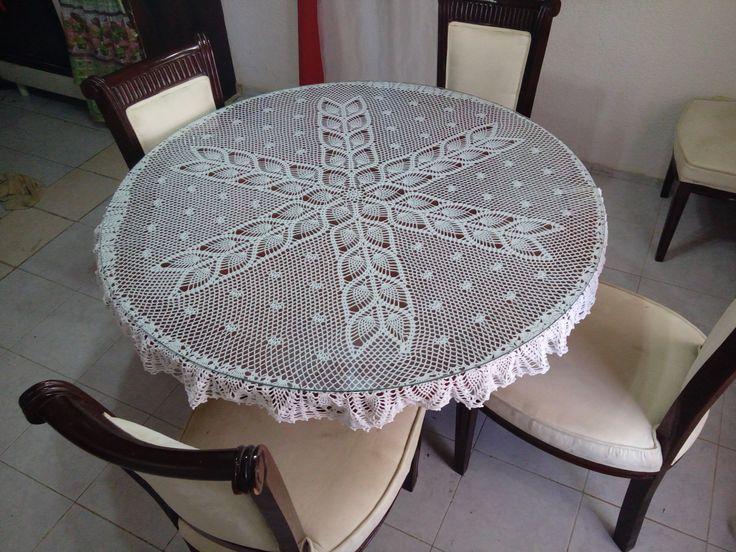 Es un mantel para mesa redonda de comedor tejida en hilaza no 6 blanco realmente el diagrama - Mantel para mesa exterior ...