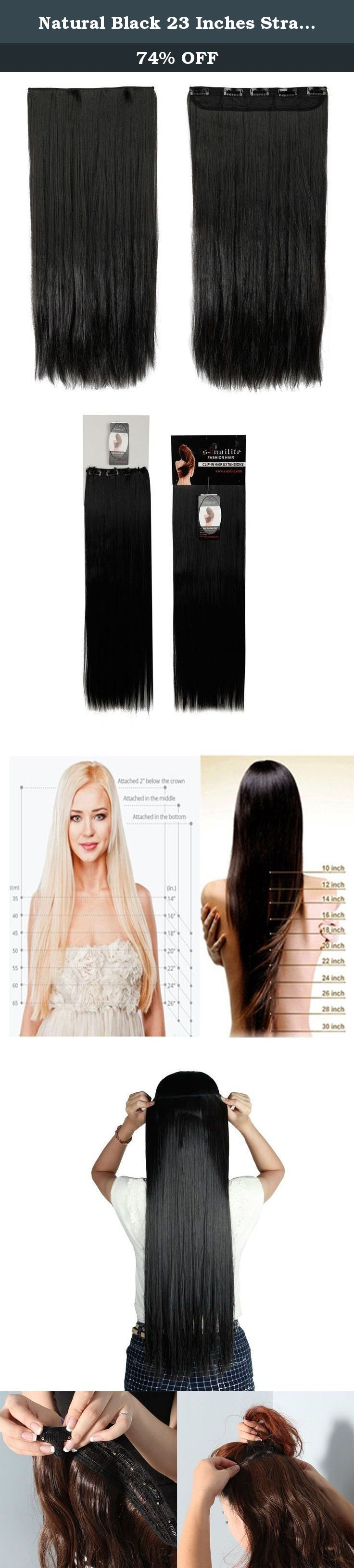 Natural Black 23 Inches Straight One Piece Clip in Hair Extensions (5 Clips) Clip Ins Hairpiece for Women Lady Girl. This is a one piece clip in hair extensions made from premium synthetic fibres. There are five hair clips along the top for easy, secure and discreet attachment to your hair. You can fit them yourself in the mirror, and have them in and a new style ready to go in minutes. This item is ideal for adding a little volume or length to your current style, and one weft is enough…