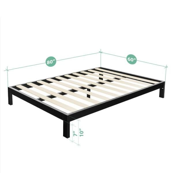 Zinus Arnav Steel 2000 Platform Bed Frame Queen Black Mlk In