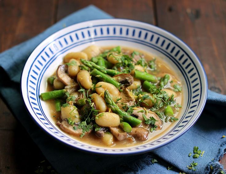 Gnocchi with Asparagus & Mushrooms in Porcini Broth
