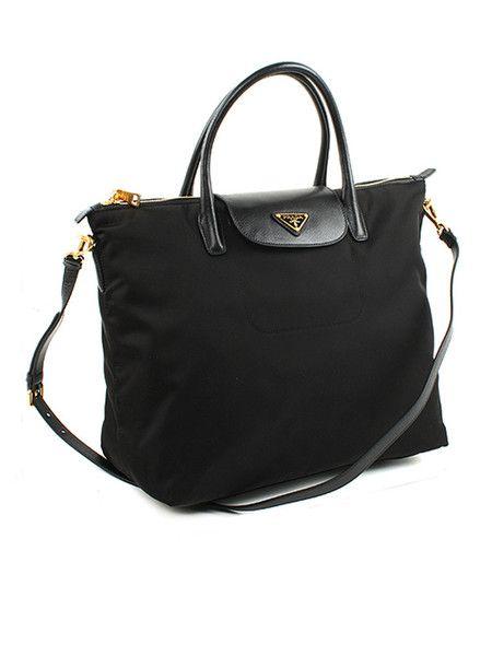 PRADA Black Tessuto Nylon & Saffiano Tote BN2106 Shoulder Bag  $950 http://www.boutiqueon57.com/products/prada-black-tessuto-nylon-saffiano-tote-bn2106-shoulder-bag