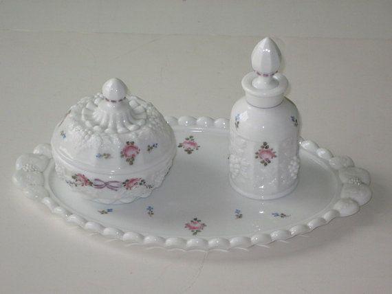 Vintage Westmoreland Milk Glass Rose Floral Panelled Grape DRESSER or VANITY SET 3-pc set