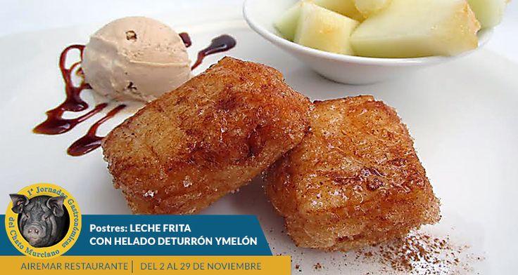 """y para los más golos@s os compartimos esta foto del menú de esta semana de las Jornadas de Chato Murciano : """"leche frita con helado de turrón de """"Helados la Tercia"""" y melón de """"El Abuelo"""" ¿ apetece ? ¡ no te quedes sin probarlo, reserva ya ¡ ¡últimos días ! reservas 968383077"""