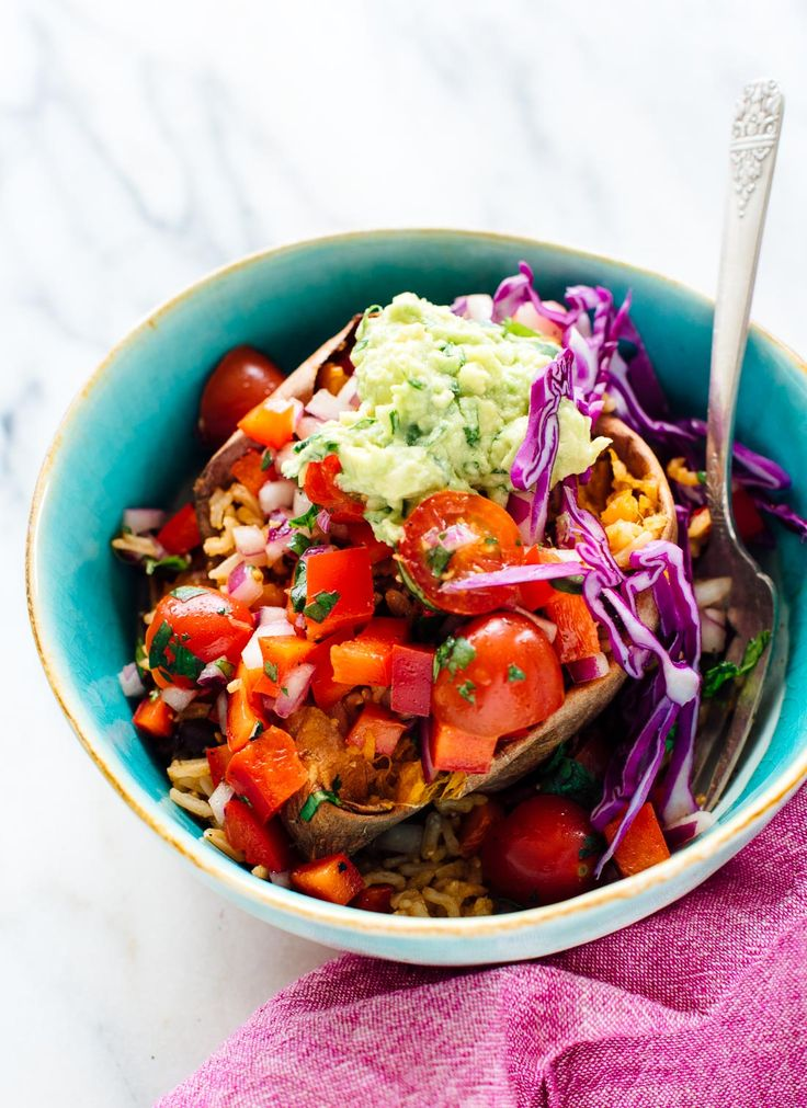 Fresh sweet potato burrito bowls from The First Mess Cookbook! This is a fun, hearty dinner recipe that happens to be vegan and gluten free.
