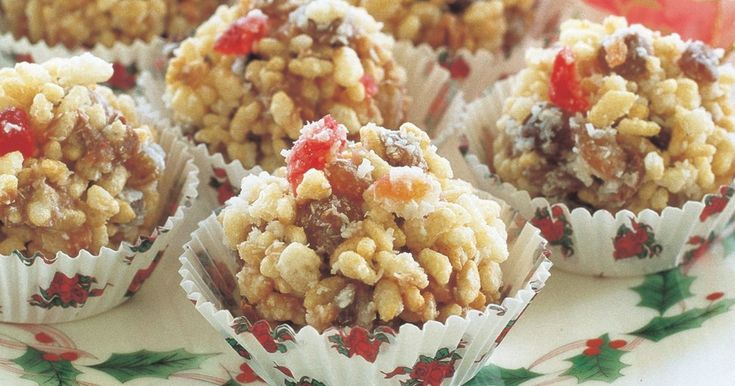 The kids will love helping to make these rice bubble treats which have the flavours and colours of Christmas.