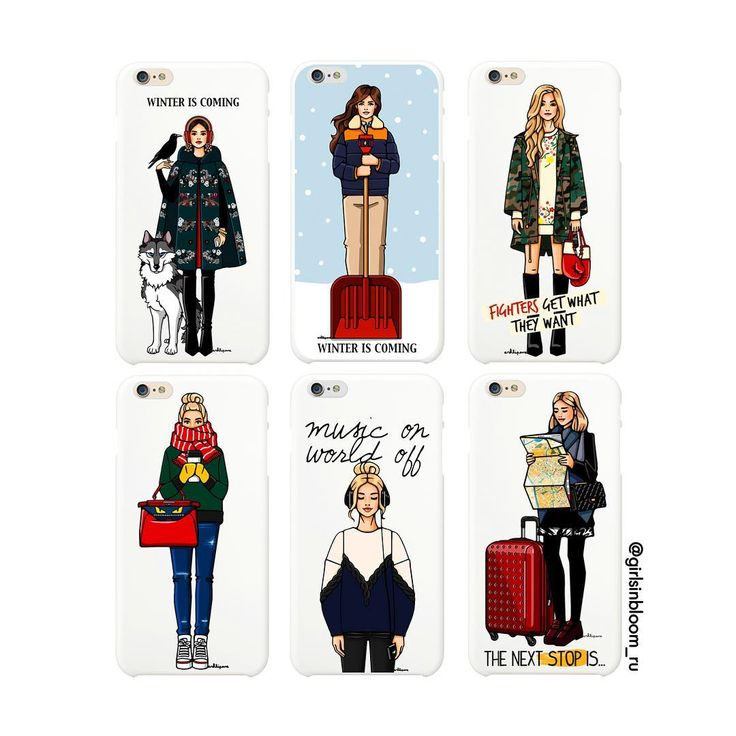 """Подборка наших любимых """"околозимних"""" чехлов⛄️Все иллюстрации с девушками в пальто, парках, свитерах и шарфах - на www.girlsinbloom.ru в разделе """"Чехлы""""📲🌨 #зимаблизко #иллюстрация #чехолнаайфон #girlsinbloom"""