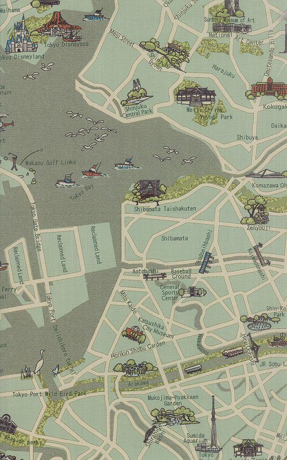 Passport by Moda, Tokyo map fabric, CentralFabrications on Etsy