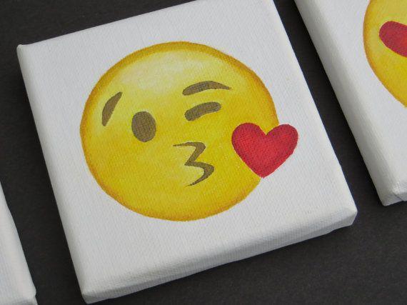Blowing Kiss Mini Emoji Painting - Mini Sized Acrylic Painting - Emoji Hand Painted Kissing Canvas