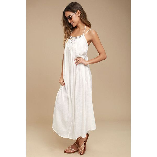 Billabong Sand Gypsy Ivory Lace Cover-Up ($60) ❤ liked on Polyvore featuring swimwear, cover-ups, white, swim cover up, maxi cover up, lace cover ups, lace swimwear and lace cover up
