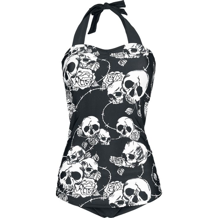 Skull Roses Swimsuit by Banned