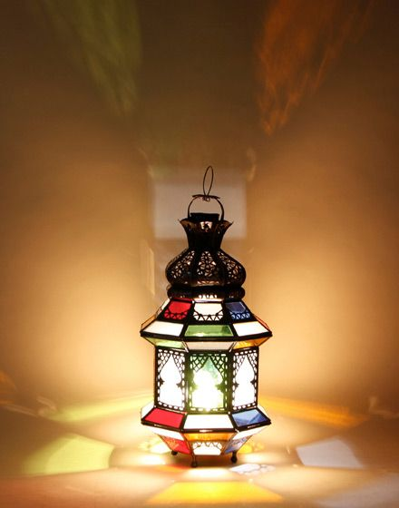 Iron Table Lamp With Multicoloured Frosted Glass.