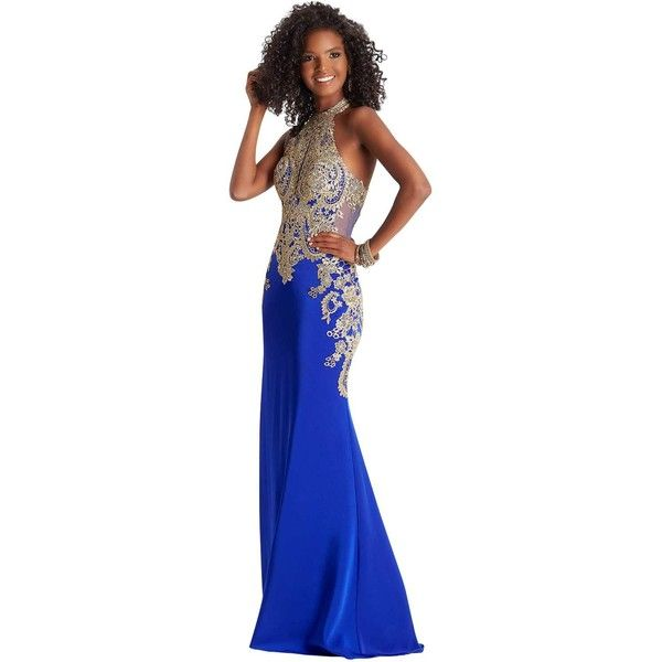 Clarisse 4962  Long High Neckline Sleeveless ($523) ❤ liked on Polyvore featuring dresses, gowns, electric blue, formal dresses, royal blue gown, royal blue evening dress, long gown, royal blue dresses and blue long dress