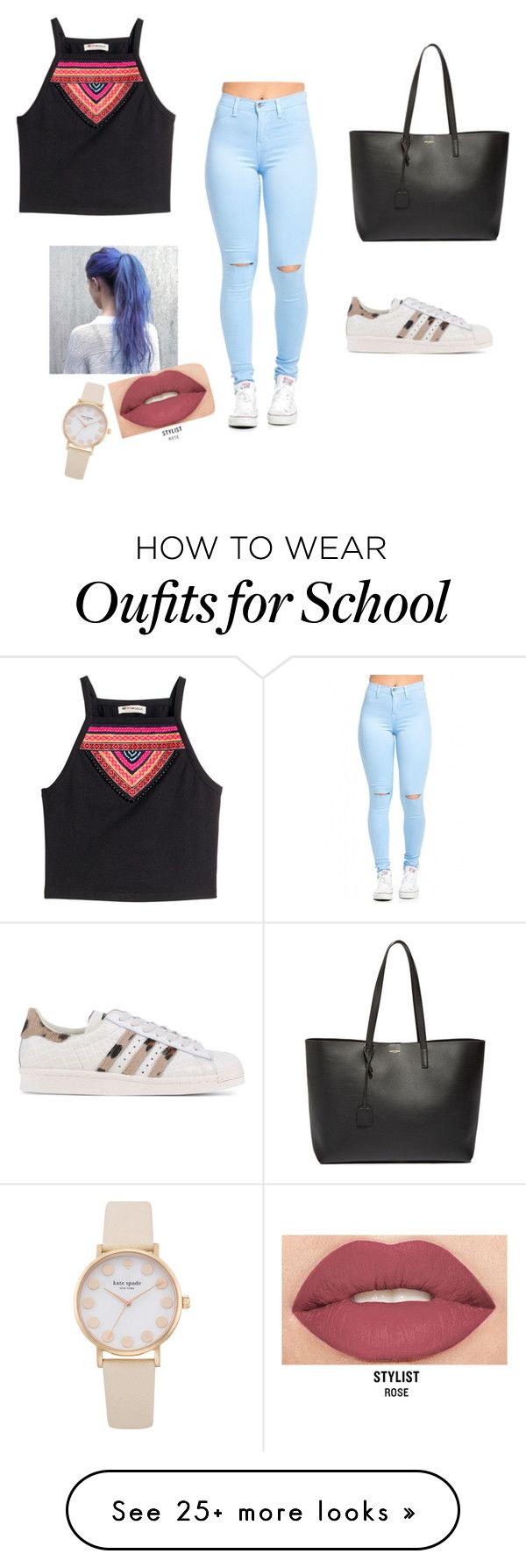 """""""school day #1"""" by sfitzell on Polyvore featuring H&M, Yves Saint Laurent, adidas Originals and Smashbox"""