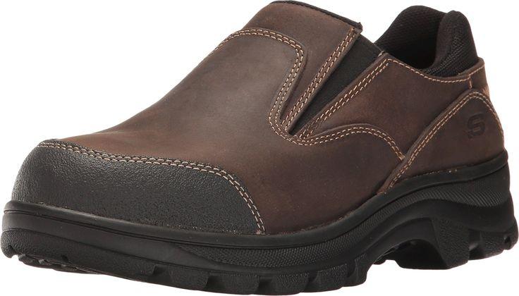Skechers Work Workshire Teays ST Womens Steel Toe Slip On Shoes Dark Brown 6.5