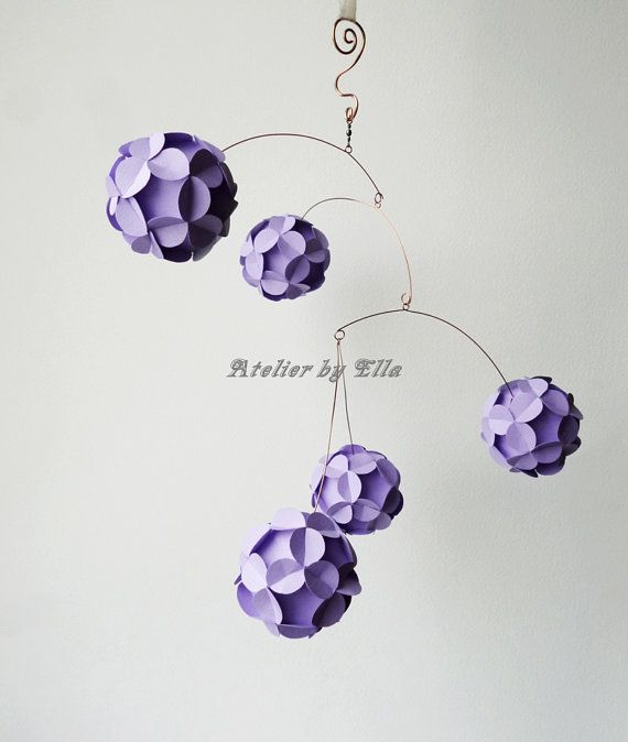 Lavender Mobile Paper Balls Kinetic Sculpture by AtelierByElla, $42.00