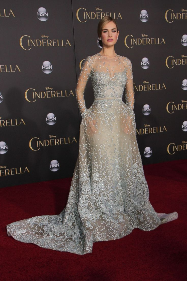 Lily James looked like a princess in an Elie Saab Haute Couture Fall 2014 gown at the 'Cinderella' premiere in LA. Photo: Izumi Hasegawa / PRPhotos.com