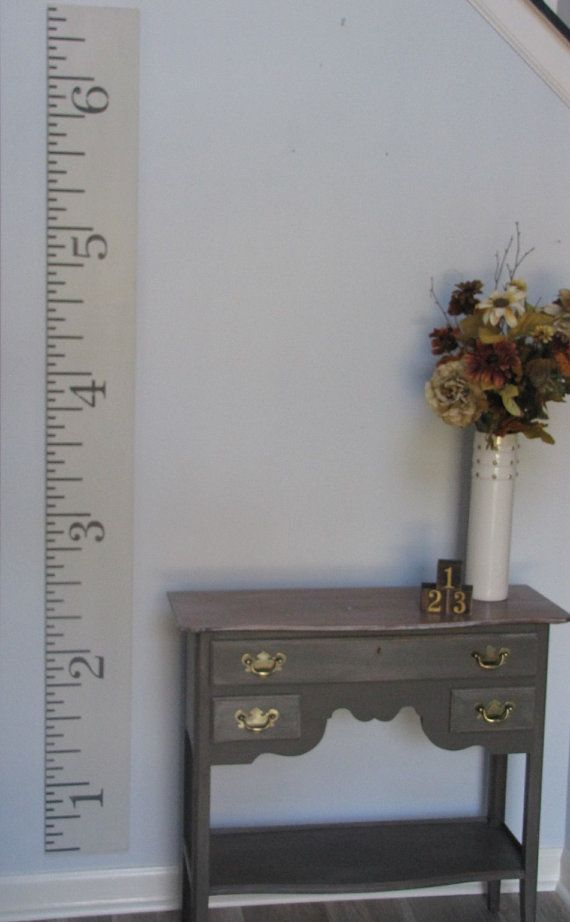 Sale- Oversized Wooden ruler growth chart finished in an antique white- Growth Chart Ruler- Hand painted growth chart- Ready to ship