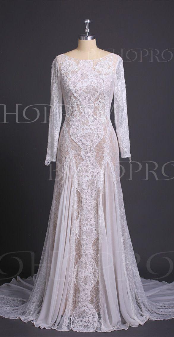 63207b9e0c Alluring Lace Bateau Long Sleeves Chapel Train Sheath Wedding ...