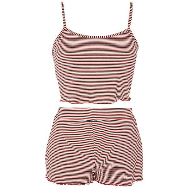 TopShop Striped Pyjama Set ($38) ❤ liked on Polyvore featuring intimates, sleepwear, pajamas, red, red pjs, striped cami, striped pyjamas, striped pajamas and red striped pajamas