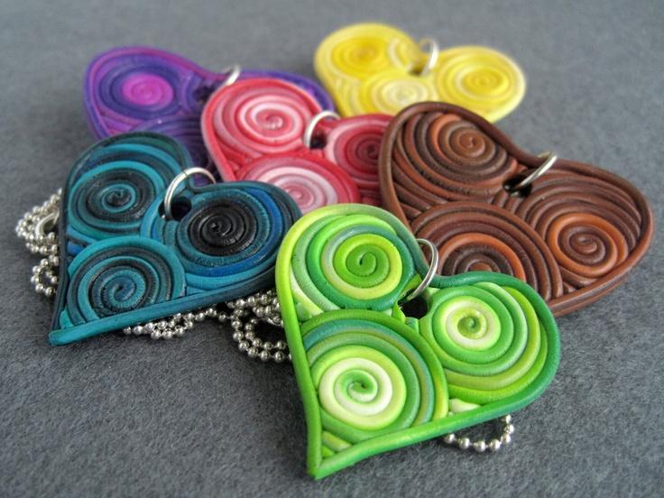 Custom Filigree Heart Polymer Clay Pendant by hacklock on Etsy.  Inspiration