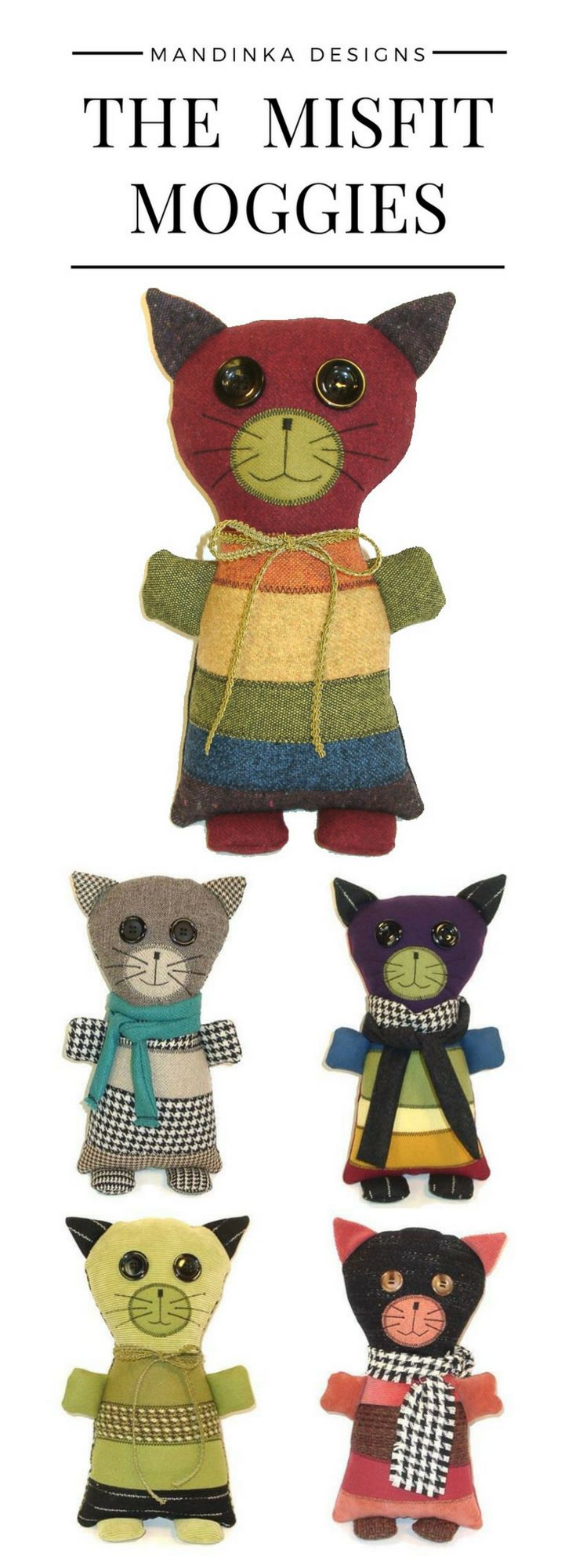 The Misfit Moggies are adorable, lovable cats made from suit coat remnants and scraps. Moggy (or moggie) is a British word for non-pedigree cats - basically the mutts of the cat world. #stuffedanimalcat #catlover #stuffedanimal #rainbow #moggies