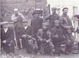 Grupo de cazadores de selk'nam en Tierra del Fuego