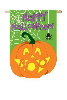 "Halloween BOO! Pumpkin Applique House Flag by House-Impressions. $23.60. Hand-crafted. Approximate dimensions are 29"" x 43"". Fade-resistant colors. Made of high quality fabric materials. Flags are the greeting card of your home! Add a piece of colorful and welcoming décor to your outdoor setting with one of these flags. Made of durable materials, the vibrant colors in this flag will last for years to come."