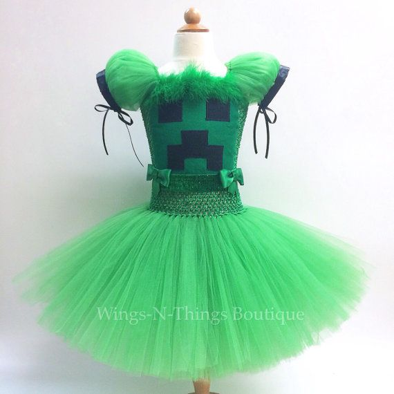 MINECRAFT CREEPER COSTUME Tutu Dress green black by wingsnthings13