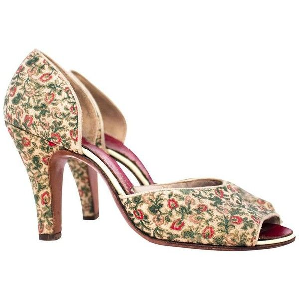 Preowned 50s Red Pink Green Fl P Toe Heels 125