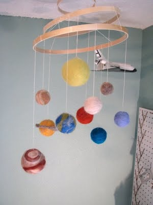 felted solar system.. Our next craft since Ella loves the sun, moon, and stars.
