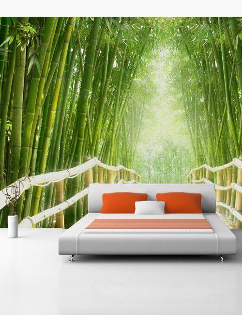 Carta da Parati Ponte nella Foresat di Bambu Carta da Parati Fotomurale Tema Paesaggi