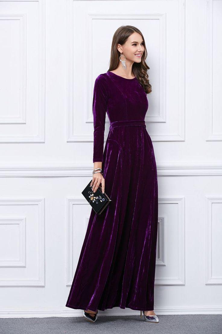 Elegant Velvet Purple Long Sleeves Wedding Formal Prom Women Dress Pocket Maxi | eBay
