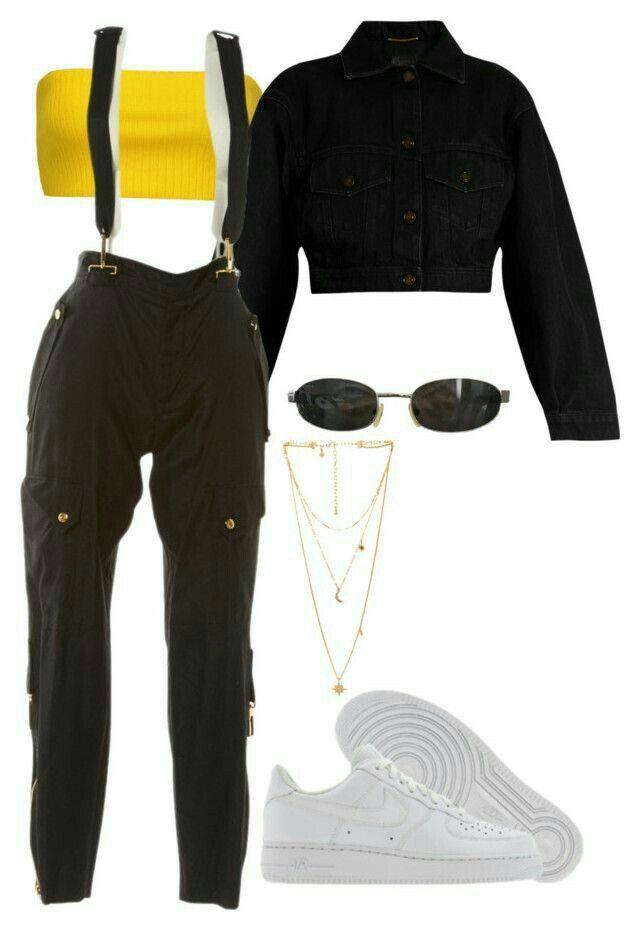 IG: @ only1_queenk✨ pantalon noir, débardeur jaune, veste en jean noir, chaus…