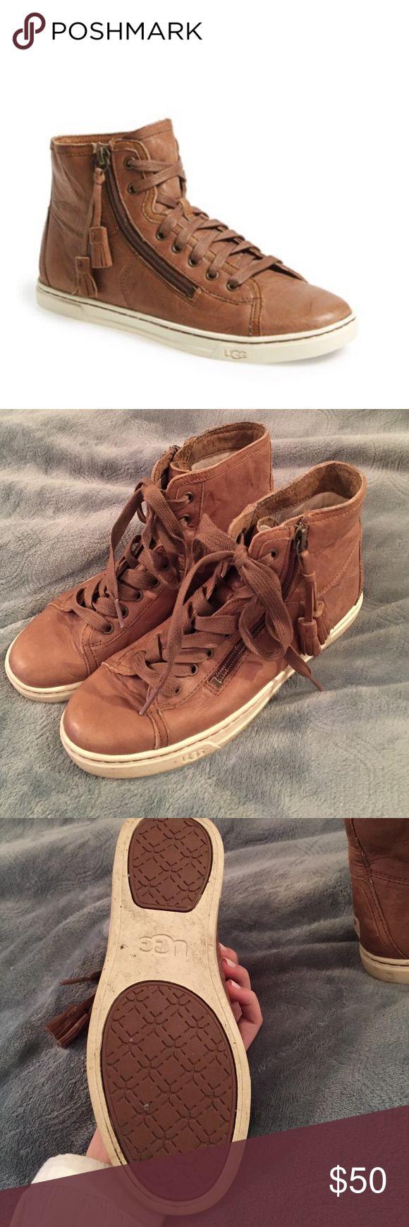 Ugg blaney tasseled high top sneakers Brown leather sneakers UGG Shoes Sneakers