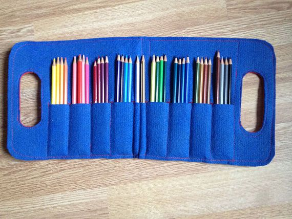 Big pencil case eco friendly in blue red by elquiltro on Etsy