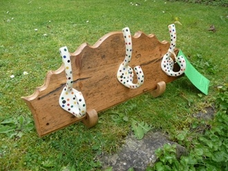 antique polka dot coat rack, hooked on hooks