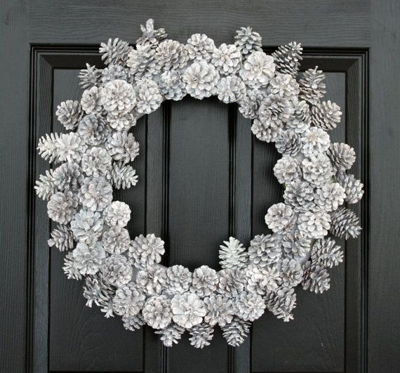 Wintry White Pinecons Christmas Wreath W/ COMPLIMENTARY Wreath Storage  Tote, Winter Wreath, Front