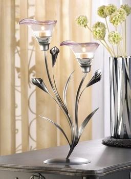 Love these Pewter Calla Lily Tea Light Wedding Reception Centerpieces! affordableelegancebridal.com