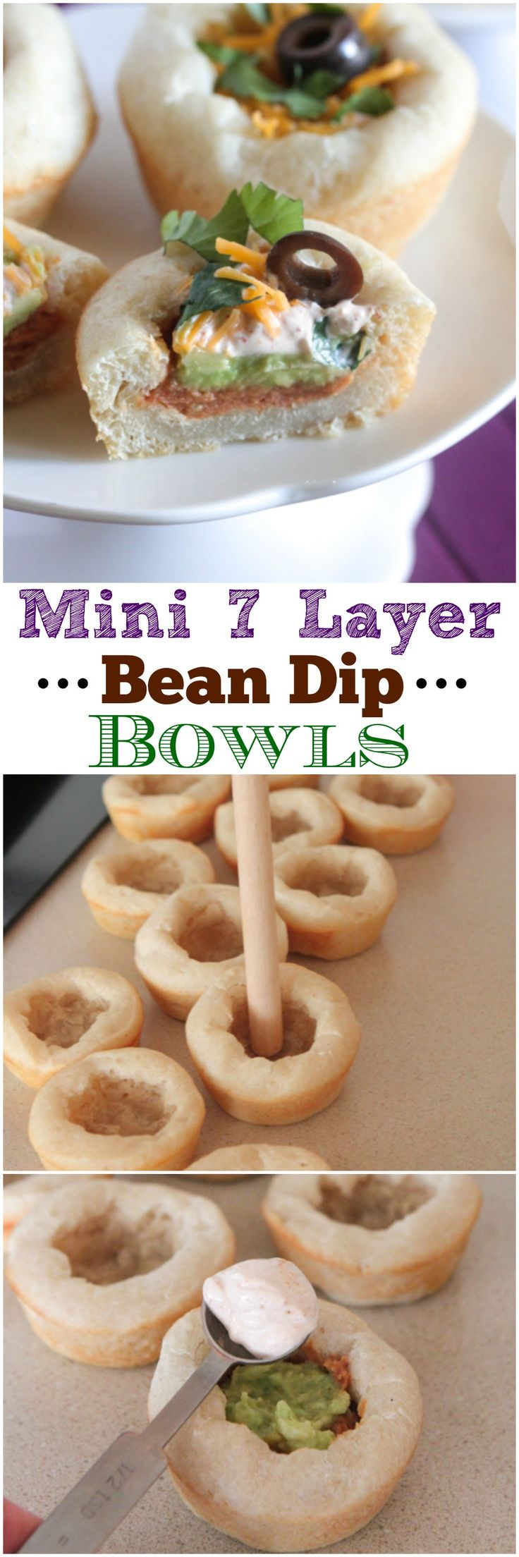 Mini 7 Layer Bean Dip Bowls-the perfect appetizer for any party! #recipe #appetizer #partyfood