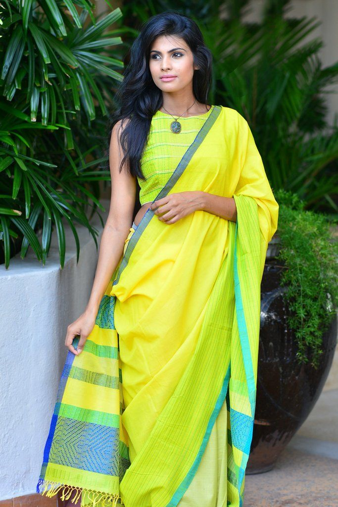 Yellow Feathers Saree from FashionMarket.lk