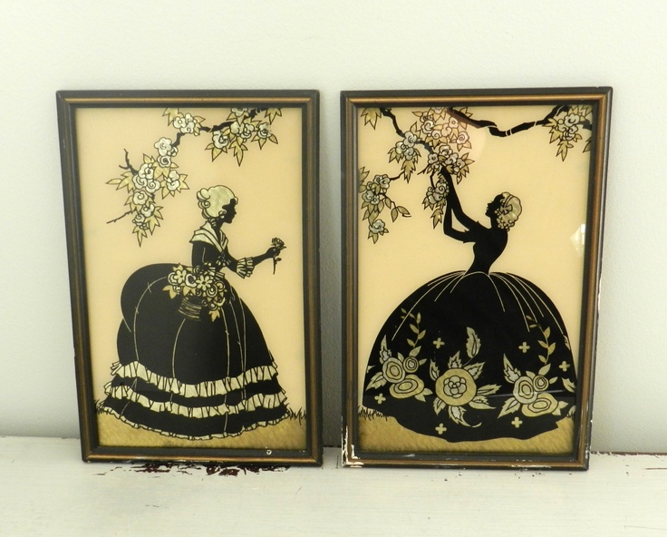 Vintage Silhouette Prints 1920s Victorian Decor Girls Room Downton Abbey Reverse Painted. $64.00, via Etsy.
