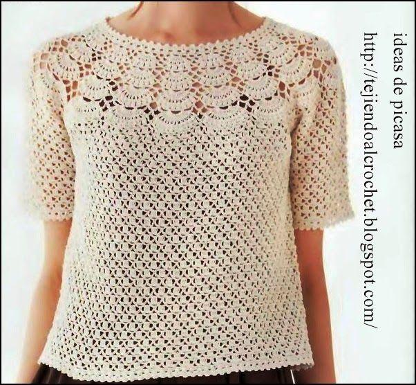 136 mejores im genes sobre blusas en pinterest patrones - Dibujos de ganchillo ...