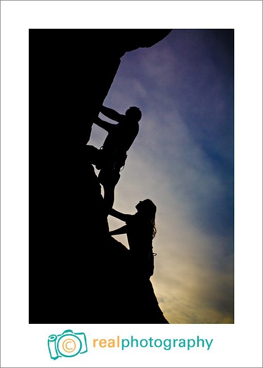 rock climbing engagement portrait